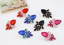 Wholesaler Red Plates Australia - Red Blue Black Dark pink Stud Earrings 10PRS Elegant Party Jewelry Earring Women Gold Plated Crystal Earrings Free Shipping-P