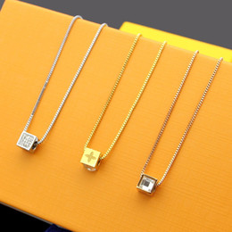 Pendant Letters Gold 18k Australia - New Arrive Fashion Lady Titanium steel 18K Plated Gold Necklace With Diamond Cube Four Leaf Flower V Letter Pendant 3 Color
