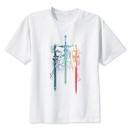 sao cosplay 2019 - Anime Sword Art Online 2 Kirito & Asuna SAO T-Shirt Top Sword GGO Cosplay Manga Funny free shipping Unisex Casual cheap