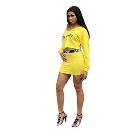 e2a527ad299d Yellow Letter Printed Casual 2 Two Piece Set Skirt Mini Autumn Full Sleeve  Crop Top And Mini Sheath Skirts Women Suits Outfits
