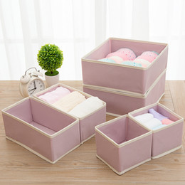 wood storage boxes drawers Australia - 6PCS New Nonwoven Storage Container Foldable Drawer Divider Lidded Closet Box For Ties Socks Bra Underwear Clothing Organizer T200104