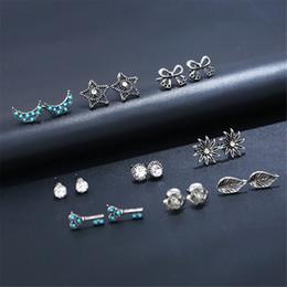 $enCountryForm.capitalKeyWord Australia - 9 Pairs Cubic Zirconia Stud Earring Hypoallergenic Ear Studs Set Jewelry for Women Men