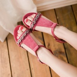 $enCountryForm.capitalKeyWord Australia - Sexy2019 Will Wind Nation Code Sandals Flat Bottom Metal Decoration Schoolgirl Shoe One Buckle Bring Level With Woman Shoes -57
