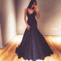 Navy Dress Occasion Australia - Elegant Dark Navy Mermaid Evening Dresses Spaghetti Sequins Prom Party Gown Floor Length Formal Occasion Dress BC0968