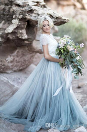 short sleeve fairy wedding dress Australia - Fairy Beach Boho Lace A Line Wedding Dresses Soft Tulle Cap Sleeves Backless Light Blue Skirts Plus Size Cheap Wedding Bridal Gown H059