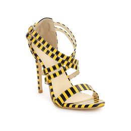 Sale Leather Sandals Canada - Hot Sale-Plus Size Women High heeled Sandals High Quality Patent Leather Ladies Dress Shoes Designer Pointed Toe Striped Wedding Pumps Q-176
