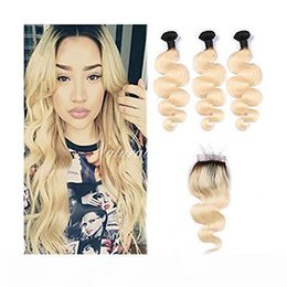 ombre bleached closure UK - Brazilian Straight Body Wave Human Hair Weaves 3 Bundles Ombre 1b 613 Blonde Human Hair Bundles With Closure Honey Platinum Virgin Hair