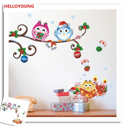 $enCountryForm.capitalKeyWord UK - Creative personality Owls bend Christmas gifts Wall Stickers Home Decorative Waterproof Wallpapers