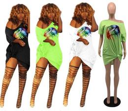 Rainbow Lips NZ - Sexy Rainbow Lips Printing Dress Women Off Shoulder Summer Short Sleeves T-Shirt Fashion Casual Skirts with Pocket Night Club Clothes C41201