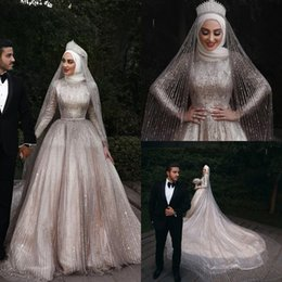 $enCountryForm.capitalKeyWord NZ - Bling Sparkle Muslim Wedding Dresses 2019 Long Sleeves High Neck A Line Champagne Gold Sequins Bridal Gowns Cathedral vestido de noiva