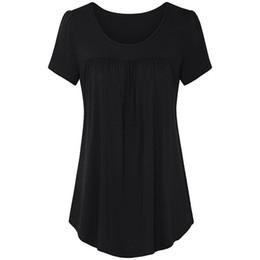 High Low Tee Shirts NZ - 2019 Casual T-Shirt Women Tops O Neck Short Sleeve Tees High Low Hem Pleated Loose T-Shirts Tunic Blousas Shirts