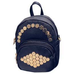 Discount lights for cell phones - New Mini Small Women Backpack Female Leather Solid Rivets Backpack School Bags For Teenage Girls(Black + light gold)