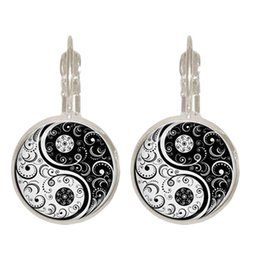 Wholesale Chinese classical Louhua pattern Chi Yin Yang Clip Earring Chinese Taoism Sign Ancient Eight Diagrams Jewelry