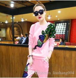 Large Lapel Suits Australia - A European station spring new casual sports suit female sequin Phoenix was thin large size trousers sweater two sets of tide free delivery