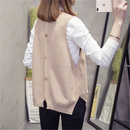 Wholesale 2020 Spring Autumn Sweater Vest Women Loose Knitted Pullover Sleeveless Top Female Korean Fashion Casual O-Neck Solid Waistcoat