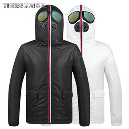 face mask hooded Australia - Protective Coverall Men's Jacket Slim Casual Coat Mens Full Face Mask Hooded Zipper Outwear Brand Fashion Coats Male Outerwear