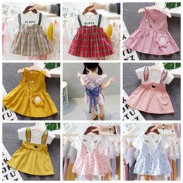 Discount knee length dresses designs - Floral Girls Dresses Short Sleeve Princess Dress Cute Baby Dress Summer Children Clothes Causal Kids Clothing 38 Designs