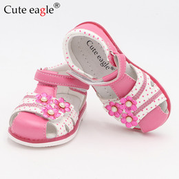 $enCountryForm.capitalKeyWord NZ - Cute Eagle Summer Girls Orthopedic Sandals Pu Leather Toddler Kids Shoes For Girls Closed Toe Baby Flat Shoes Eur 21-26 New 2019 Y19061906