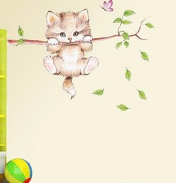 $enCountryForm.capitalKeyWord NZ - cat hanging on a branch chasing a child bedroom home wall sticker decorated butterfly game label cartoon applique DIY