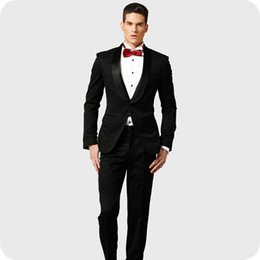 Fitting For Suit Canada - New Arrival Black Groom Tuxedos Men Suits for Wedding Shawl Lapel Best Man Blazer 2Piece Slim Fit Terno Custom Made Masculino Costume Homme