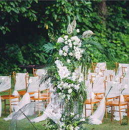 white wedding chairs wholesale Canada - Bohemian Beach Wedding Chair Sashes Flowy Chiffon Chiavari Chair Sashes Custom Made Blush White Wedding Party Event Decorations 150*200 cm