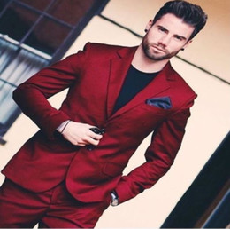 $enCountryForm.capitalKeyWord Australia - Wine Red Notch Lapel Men Suits 2019 Customized Made Fashion Formal Hombres Latest Coat Pants Design (Jacket+Pants+Tie) YM