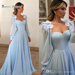 Chiffon prom dress sweetheart neCkline online shopping - Desginer Sweetheart Neckline With Flowers Long Sleeves Prom Dresses High End Quality Party Dress In Hot Sales