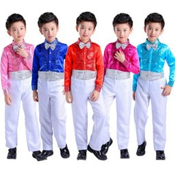 bbf1f2ca8 Boys Children Student Sequins Jazz Stage Dance Perform Party Birthday  Costume Gentleman Tracksuit Suit Sets For Boys Clothes