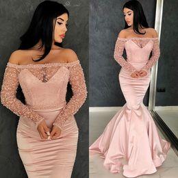Short Lace Dresses Glamorous Australia - Glamorous Long Sleeve Off-the-shoulder Pink Lace Evening Dresses 2019 Mermaid Prom Gowns robes de soirée Guest Dress Formal Dresses