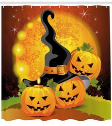 $enCountryForm.capitalKeyWord Canada - DIY Unique Halloween Shower Curtain by Witches Hat Spooky Pumpkins Magical Night Autumn Nature Full Moon Fabric Bathroom Decor Set