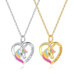 beautiful silver bracelets for girls NZ - Life Is Beautiful Letter Unicorn Heart Pendant Necklace for Women Teen Girl Gift Silver Chain Jewelry