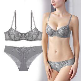8159b6cf8c6cc Bragas Fashion Transparent Bra Embroidery Bra Set Underwear Women Eset Plus  Size Lingerie ABCD Cup Ultrathin Panties mujer Sexy