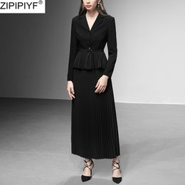 Discount women office dress suits 2020 Women Skirt Suit Solid Turn down Collar Long Sleeve Top Jacket Suit With Pleated Skirt Fashion Elegant Blazers Office Wear