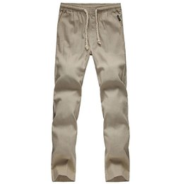 d02ee16f3eda -High quality Mens Linen Pants Summer Style Joggers Solid Color Casual  Loose Cotton and Linen sweatpants Trousers For Men