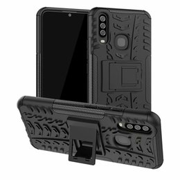 plastic case vivo Australia - 6.35 inch For vivo Y17 Dazzle Shockproof Soft Silicone & Hard Plastic Dual Armor Back Case Stand Holder Cover