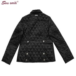 Wholesale quilted jackets for sale - Group buy Quilted Cotton padded Jacket Women Black Lozenge Winter Jacket Plus size Coat femininas chaqueta Pockets Outerwear