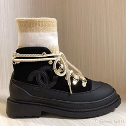 Thick velveT heels online shopping - Leather Plus Velvet Martin Boots Popular Casual Fashion Women Short Paragraph Flat Color Matching Stockings Thick Heel Socks About Boots