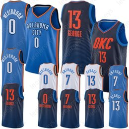 c5689fc47 2019 New Westbrook 0 Russell Oklahoma City George 13 Paul Thunder Anthony 7  Carmelo Jerseys 100% Stitched Hot Sale Adult Jerseys