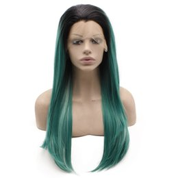 $enCountryForm.capitalKeyWord Australia - Dark Root Green Ombre Wig Synthetic Long Straight Hand Tied Lace Front Wig Realistic Looking Heat Resistant