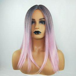 $enCountryForm.capitalKeyWord NZ - Ma'am Long Straight Hair Black Gradual Change Shallow Pink Colour Colour Wig Headgear