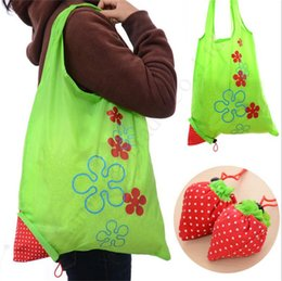 nylon shopping bags pouch Canada - Strawberry Foldable Shopping Bag One Shoudler storage bags Handbags Purse Reusable Folding Grocery Nylon eco totes Home Protable Pouch E1703