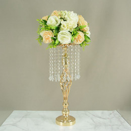 Crystal Table Decor Australia - Candle Holders Crystal Flower Vase Wedding Floor Gold Road Lead Table Centerpiece Rack Flowers Stand Party Decor