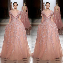 ed11f0a1f1d93 Tony Ward 2019 Lace Prom Dresses Sheer Jewel Neck Appliqued Blush A Line  Tulle Evening Gowns Elegant Beaded Long Formal Party Dresses