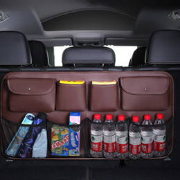 venda por atacado Couro luxo 8kockets organizer peças de automóvel assento traseiro bag saco de armazenamento de tronco de tronco strowing acessórios interiores