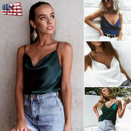 Wholesale solid colour shirts for sale – dress Fashion Women s Sexy V Neck Chiffon T Shirt Loose Soft Solid Color Sleeveless Tank Top Colour Summer Clothes
