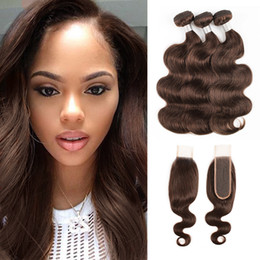 chocolate hair extensions Australia - #4 Chocolate Brown Body Wave Hair Bundles With Closure Peruvian Remy Human Hair extensions 3 or 4 Bundles with 2x6 Lace Closure
