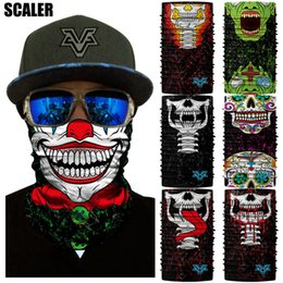 Cosplay tube online shopping - 3D Corpse Joker Magic Bandanas Cosplay Neck Gaiter Scary Face Mask Sports Cycling Hiking Motorcycle Bandana Headband Tube Scarfs