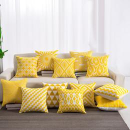 $enCountryForm.capitalKeyWord Australia - Yellow Color Embroidered Cotton Pillow Case Cover Decorative Seat Pillowcases Soft Throw Pillowcases 45*45cm