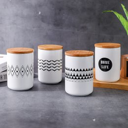 CeramiC spiCes jar online shopping - 480ml Nordic Geometric Ceramic Storage Jars with Lid for Eating Coffee Spices Tea Storage Tin Water Cup with Cover Kitchen Tool