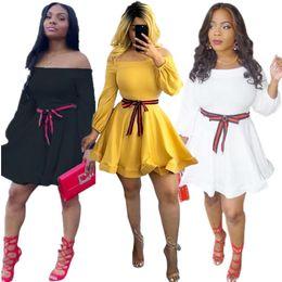 $enCountryForm.capitalKeyWord NZ - Autumn and winter 2019 new style Dress European and American Fashion sexy nightclub Wear slash neck with belt ribbon dresses